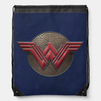Wonder Woman Symbol Over Concentric Circles Drawstring Bag