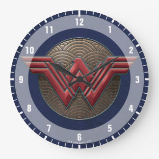 Wonder Woman Symbol Over Concentric Circles Large Clock