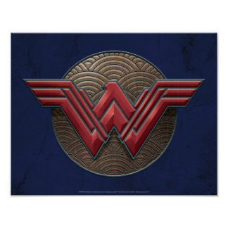Wonder Woman Symbol Over Concentric Circles Poster