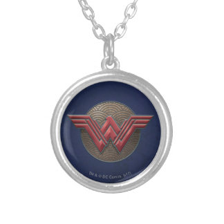 Wonder Woman Symbol Over Concentric Circles Silver Plated Necklace