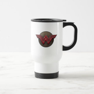 Wonder Woman Symbol Over Concentric Circles Travel Mug