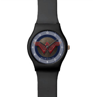 Wonder Woman Symbol Over Concentric Circles Watches