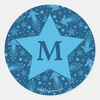 Wonder Woman Symbol Pattern   Monogram Classic Round Sticker