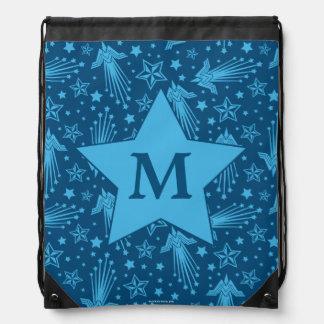 Wonder Woman Symbol Pattern | Monogram Drawstring Bag