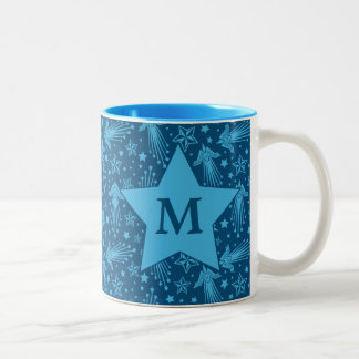 Wonder Woman Symbol Pattern | Monogram Two-Tone Coffee Mug