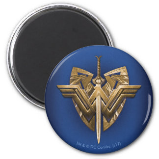 Wonder Woman Symbol With Sword of Justice 2 Inch Round Magnet