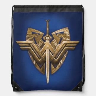 Wonder Woman Symbol With Sword of Justice Drawstring Bag