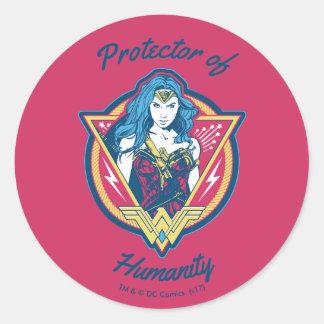 Wonder Woman Tri-Color Graphic Template Round Sticker