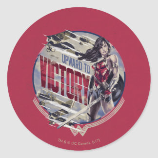 Wonder Woman Upward To Victory Round Sticker