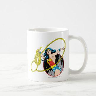 Wonder Woman with City Background Classic White Coffee Mug