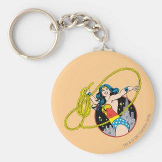 Wonder Woman with City Background Keychain