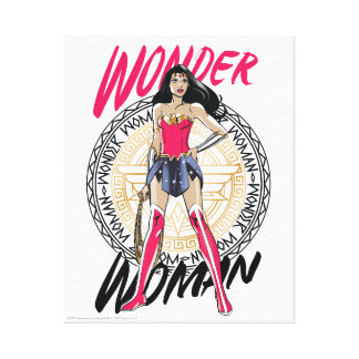 Wonder Woman With Greek Tribal Emblem Canvas Print