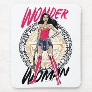 Wonder Woman With Greek Tribal Emblem Mouse Pad