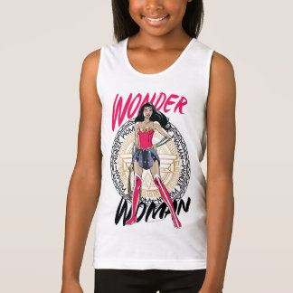 Wonder Woman With Greek Tribal Emblem Tank Top