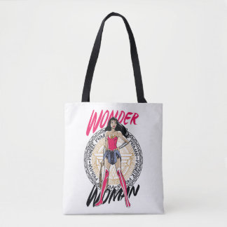 Wonder Woman With Greek Tribal Emblem Tote Bag