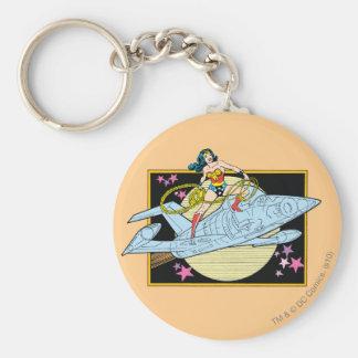 Wonder Woman with Jet Basic Round Button Keychain