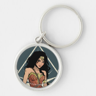 Wonder Woman With Sword Comic Art Silver-Colored Round Keychain
