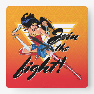 Wonder Woman With Sword - Join The Fight Square Wall Clock