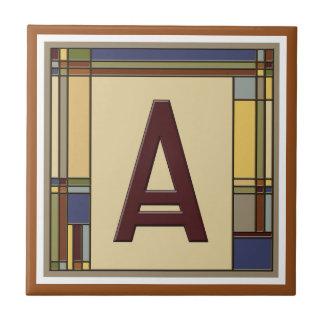 Wonderful Arts & Crafts Geometric Initial A Tile