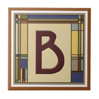 Wonderful Arts & Crafts Geometric Initial B Tile