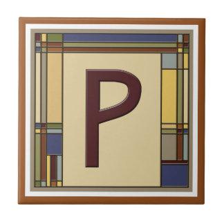 Wonderful Arts & Crafts Geometric Initial P Tile