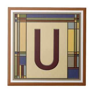 Wonderful Arts & Crafts Geometric Initial U Tile
