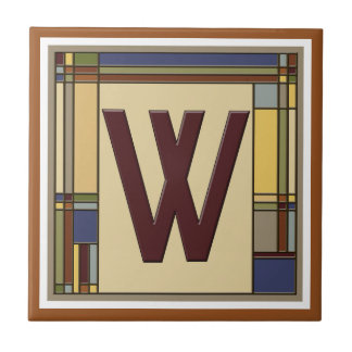 Wonderful Arts & Crafts Geometric Initial W Tile