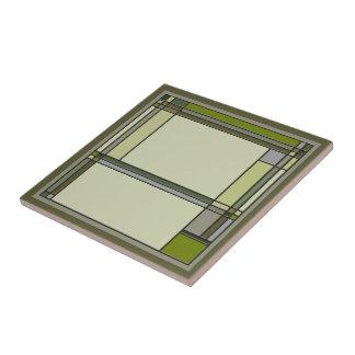 Wonderful Arts & Crafts Geometric Pattern in Green Tile