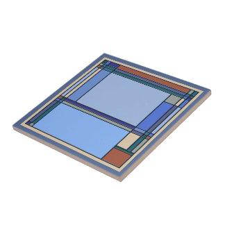 Wonderful Arts & Crafts Geometric Patterns in Blue Tile
