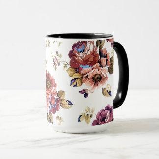 Wonderful Black 15 oz Combo Mug In Flowers Design