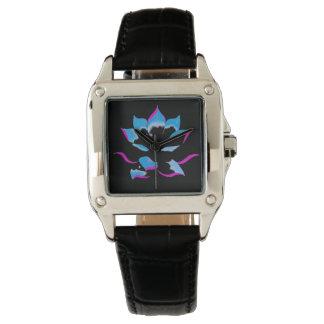 wonderful blue lotus wrist watch