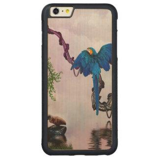 Wonderful blue parrot carved maple iPhone 6 plus bumper case