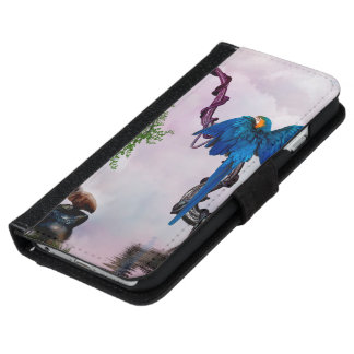 Wonderful blue parrot iPhone 6 wallet case