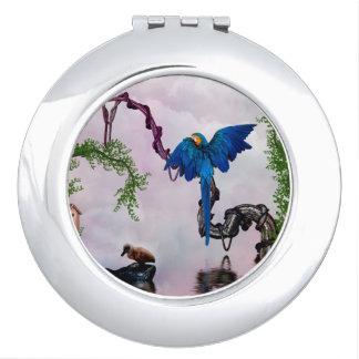 Wonderful blue parrot makeup mirrors