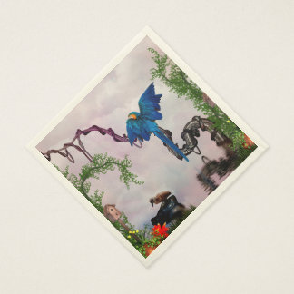 Wonderful blue parrot paper napkin