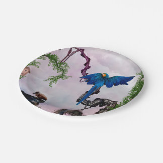 Wonderful blue parrot paper plate