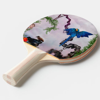 Wonderful blue parrot ping pong paddle