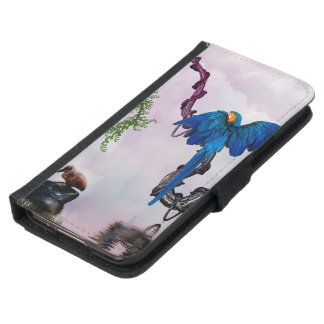 Wonderful blue parrot samsung galaxy s5 wallet case