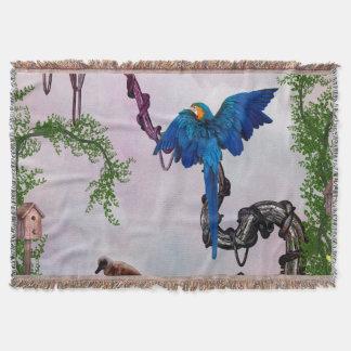 Wonderful blue parrot throw blanket