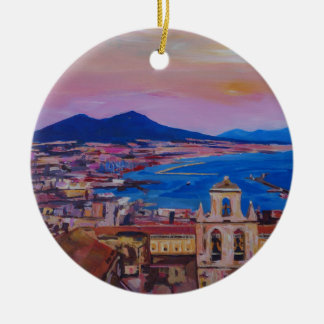 Wonderful City View of Naples with Mount Vesuv Ceramic Ornament