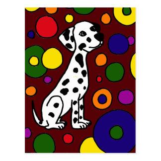 Wonderful Colorful Dalmation and Spots Art Postcard