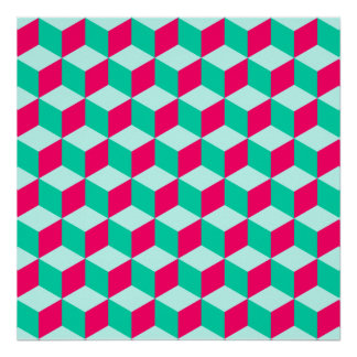 wonderful cube pattern abstract magenta and mint poster
