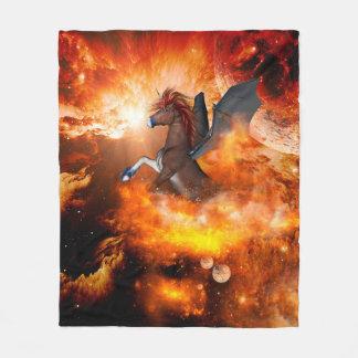 Wonderful dark unicorn in the universe fleece blanket