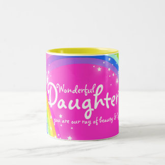 Wonderful Daughter rainbow pink mug