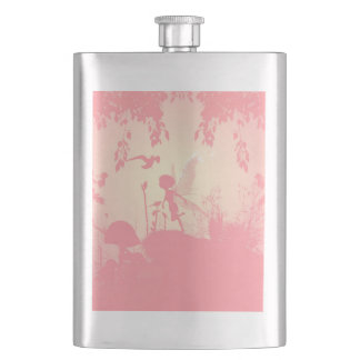 Wonderful fairy silhouette in pink with birds flask