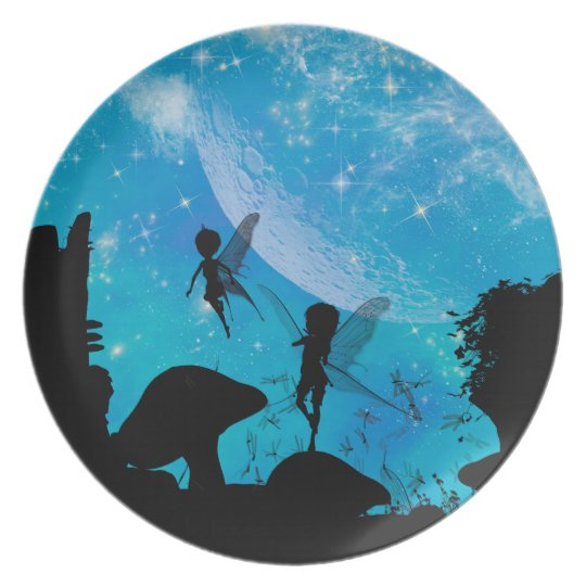 Wonderful fairy silhouette plate