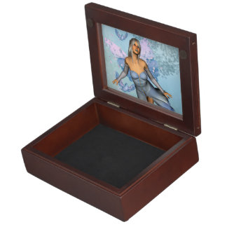 Wonderful fairy with fantasy birds keepsake box