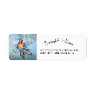 Wonderful fairy with fantasy birds return address label