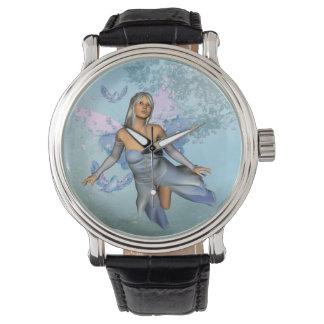 Wonderful fairy with fantasy birds wrist watches