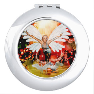 Wonderful fairy with swan compact mirrors